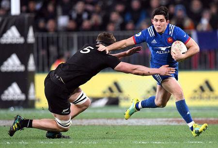 Rugby Union - June Internationals - New Zealand vs France - Forsyth Barr Stadium, Dunedin, New Zealand - June 23, 2018 - Anthony Belleau of France avoids a tackle from Scott Barrett of New Zealand. REUTERS/Ross Setford