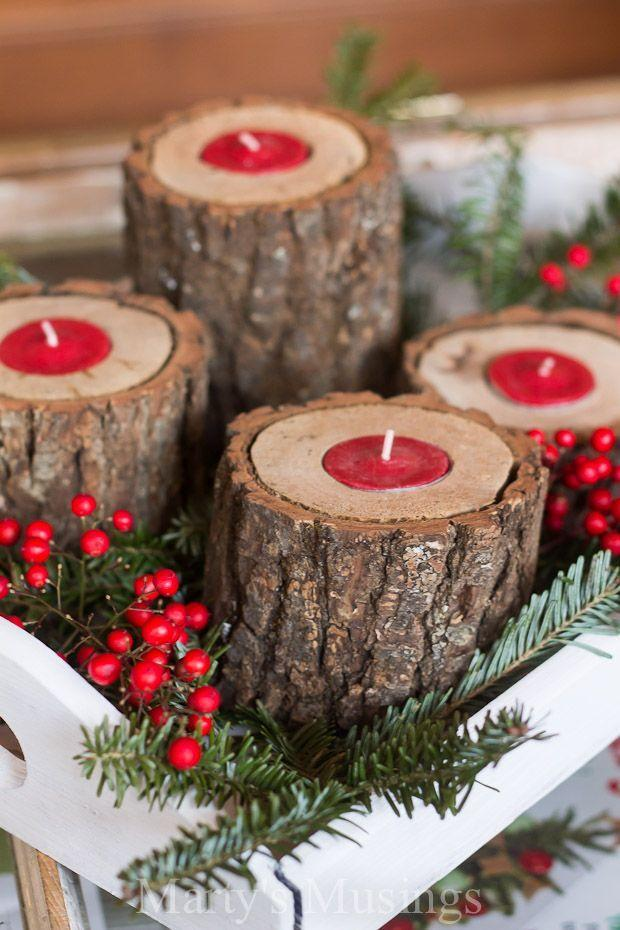 "<p>Turn wooden logs into a home for tea lights by carving a hole for them to sit in.</p><p>See more at <a href=""http://martysmusings.net/2014/12/rustic-wood-candle-holders.html"" rel=""nofollow noopener"" target=""_blank"" data-ylk=""slk:Marty's Musings"" class=""link rapid-noclick-resp"">Marty's Musings</a>. </p>"