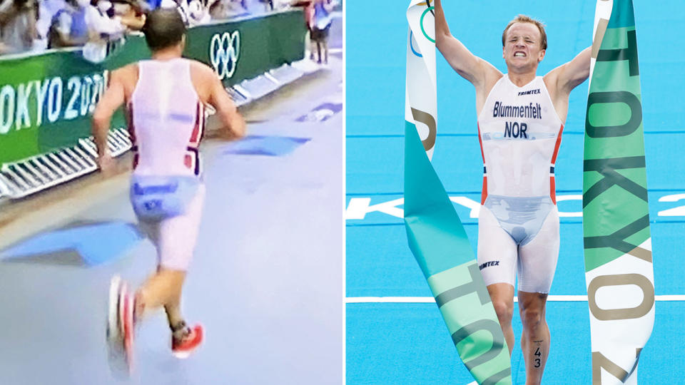 Kristian Blummenfelt, pictured here in action at the Olympics.