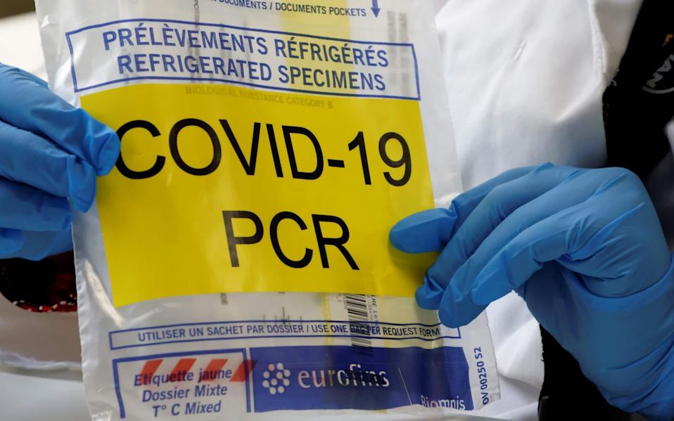 a bag to transport test tube of a sample to be analysed with PCR method to detect the Covid-19 novel coronavirus