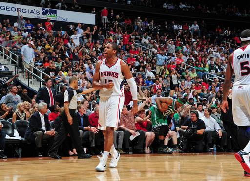 ATLANTA, GA - MAY 8: Al Horford #15 of the Atlanta Hawks reacts to a play against the Boston Celtics in Game Five of the Eastern Conference Quarterfinals in the NBA Playoffs on May 8, 2012 at Philips Arena in Atlanta, Georgia. (Photo by Scott Cunningham/NBAE via Getty Images)