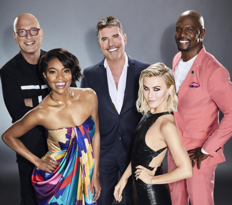 AMERICA'S GOT TALENT -- Season: 14 -- Pictured: (l-r) Howie Mandel, Gabrielle Union, Simon Cowell, Julianne Hough, and Terry Crews -- (Photo by: Art Streiber/NBCU Photo Bank/NBCUniversal via Getty Images via Getty Images)
