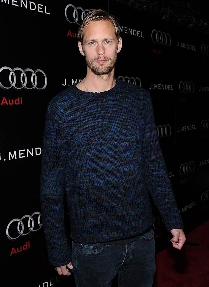 """""""True Blood"""" vamp Alexander Skarsgard rocked the red carpet solo in a blue knit sweater and jeans. His on-off girlfriend Kate Bosworth was nowhere in sight. Michael Buckner/<a href=""""http://www.wireimage.com"""" target=""""new"""">WireImage.com</a> - January 9, 2011"""