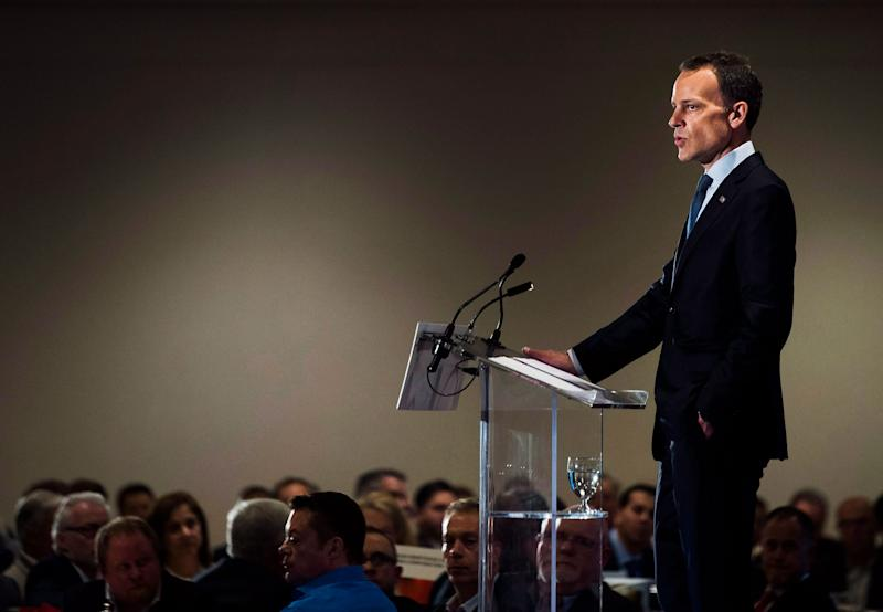 CMHC president Evan Siddall speaks to the Canadian Club of Toronto, Thurs. June 1, 2017. Siddall is taking criticism from real estate industry insiders over a pessimistic forecast for Canadian housing. (Photo: Nathan Denette/The Canadian Press)