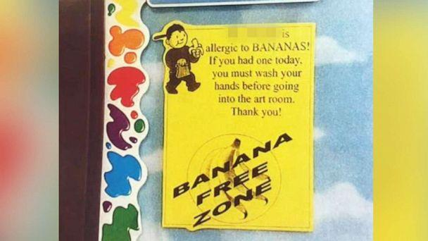 PHOTO: Columbus Police released this undated image of a sign outside of a classroom, warning that the teacher had a banana allergy, at Starling K-8 School in Columbus, Ohio. (Columbus Police via WSYX)