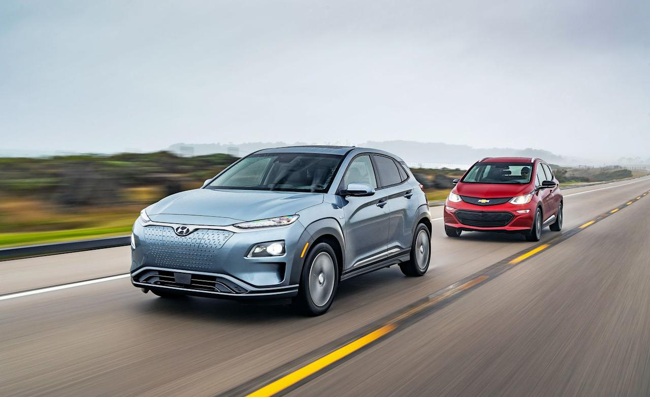 <p>Currently there are just two EVs that sticker below $40,000 and boast battery packs large enough to allow driving in excess of 200 miles on a charge, although a third will go on sale soon. The Hyundai Kona Electric arrived early this year and, alongside its gas-powered variants, made our 2019 10Best Trucks and SUVs list. Its starting price of $37,495 matches the Chevrolet Bolt EV's, which was a 10Best car in 2017 before it had any competition.</p>