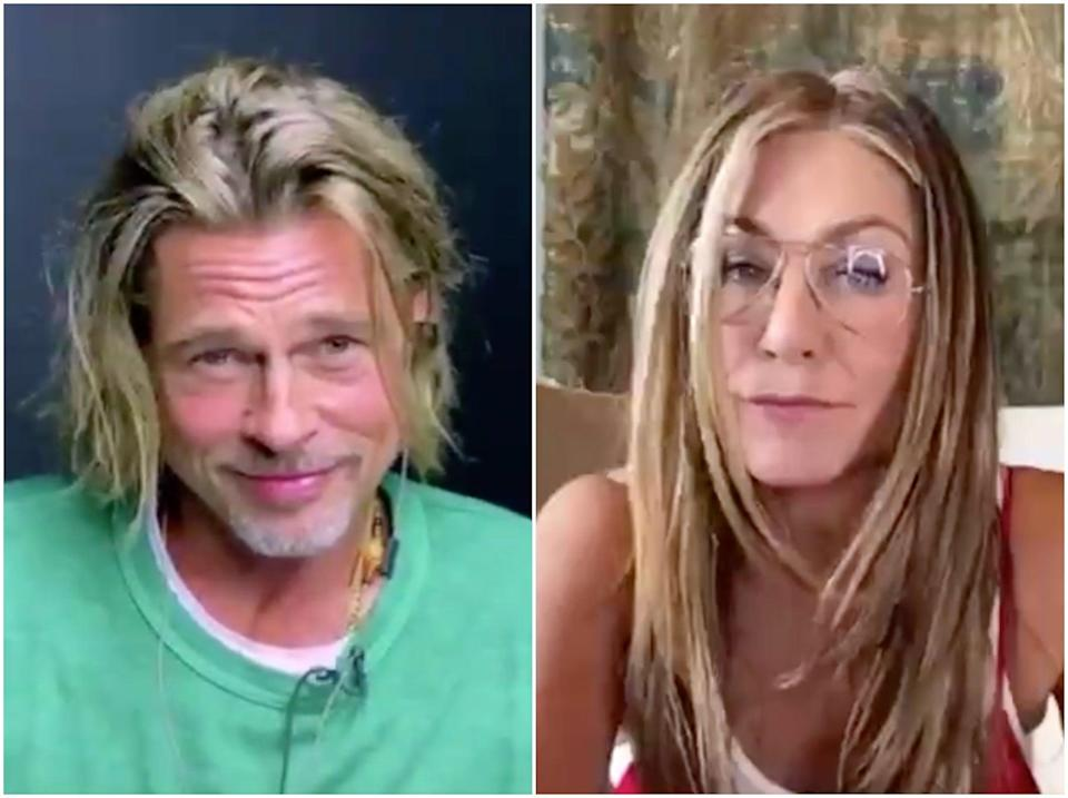 Pitt and Aniston were on friendly form during fundraising livestream (Facebook/CORE)