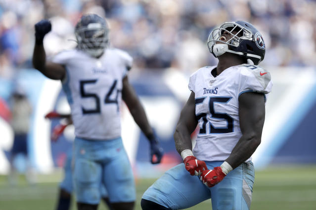 Tennessee Titans inside linebacker Jayon Brown (55) celebrates after breaking up a play by the Indianapolis Colts in the second half of an NFL football game Sunday, Sept. 15, 2019, in Nashville, Tenn. (AP Photo/James Kenney)