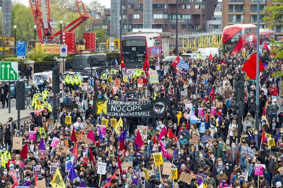 Protesters march through London during a Kill The Bill protest, one of 40 demonstrations arranged across the UK. The protest is against the police, crime, sentencing and courts bill which would grant the police a range of new discretionary powers to shut down protests. (Photo by Dave Rushen / SOPA Images/Sipa USA)