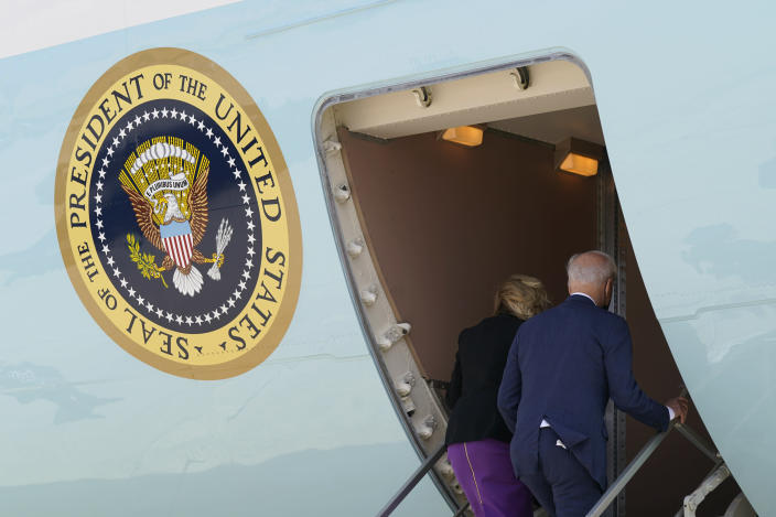President Joe Biden and first lady Jill Biden board Air Force One at Andrews Air Force Base, Md., Friday, April 30, 2021. The Biden's are en route to Philadelphia to mark Amtrak's 50th anniversary. (AP Photo/Patrick Semansky)