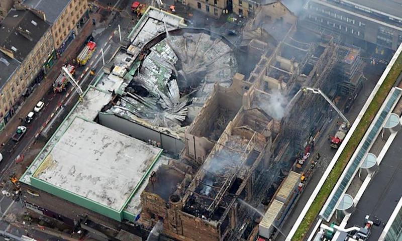 Aerial view of the smoldering ruins of the Glasgow School of Art