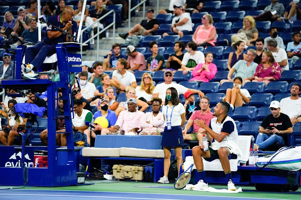 Nick Kyrgios argues with the chair umpire during his first-round match against Roberto Bautista Agut on Day 1 of the 2021 U.S. Open.