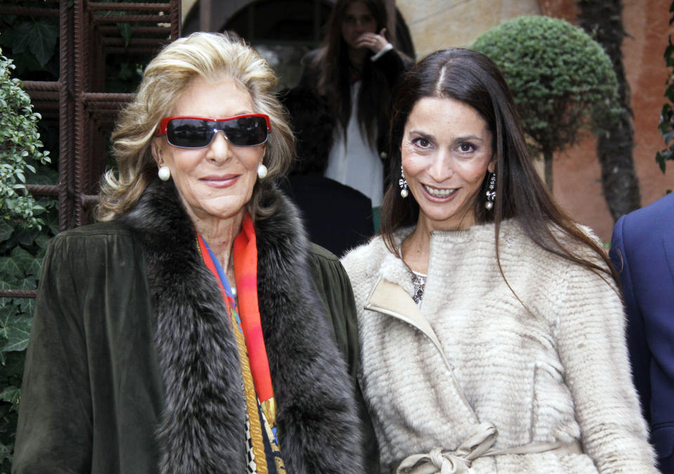 MADRID, SPAIN - JANUARY 27: (EXCLUSIVE COVERAGE) Pitita Ridruejo (L) attend Carlos Stilianopoulos and Estela (R) wedding on January 27, 2012 in Madrid, Spain.  (Photo by Europa Press/Europa Press via Getty Images)