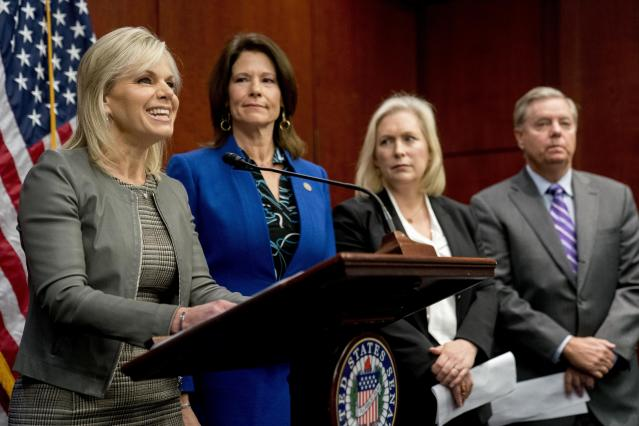 From left, former Fox News host Gretchen Carlson — accompanied by Rep. Cheri Bustos, D-Illinois., Sen. Kirsten Gillibrand, D-N.Y. and Sen. Lindsey Graham, R-S.C. — speaks at a news conference during which members of Congress introduced legislation to curb sexual harassment in the workplace on Dec. 6, 2017, on Capitol Hill in Washington. (Photo: Andrew Harnik/AP)
