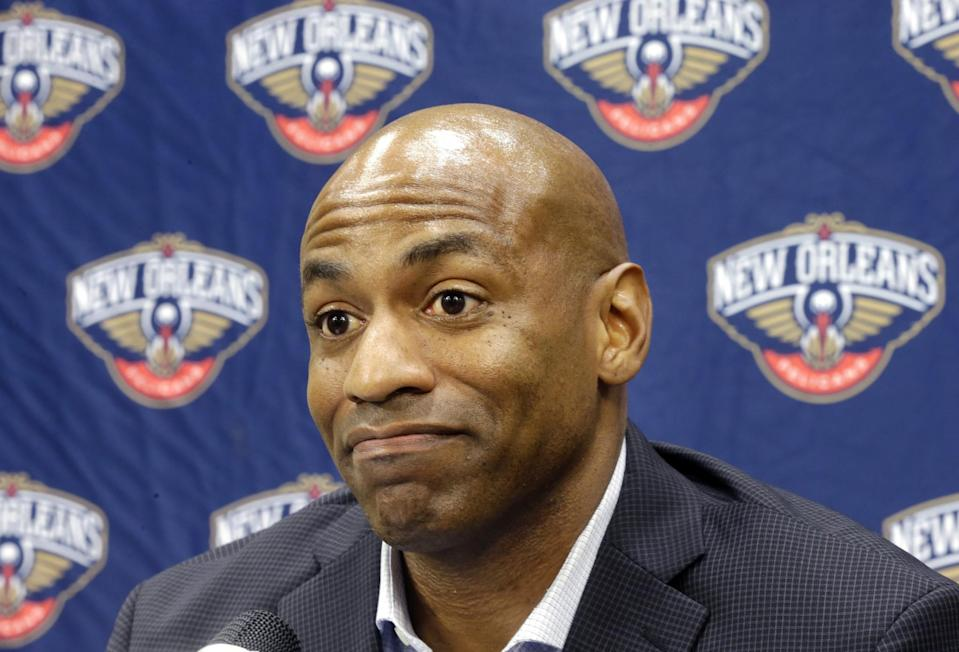 New Orleans Pelicans general manager Dell Demps speaks during a news conference on May 12, 2015. (AP/Gerald Herbert, File)
