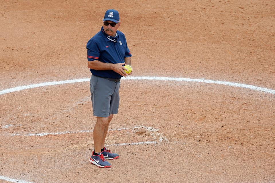 Arizona coach Mike Candrea stands in the pitcher's circle ahead of Saturday's 4-3 loss to Florida State.