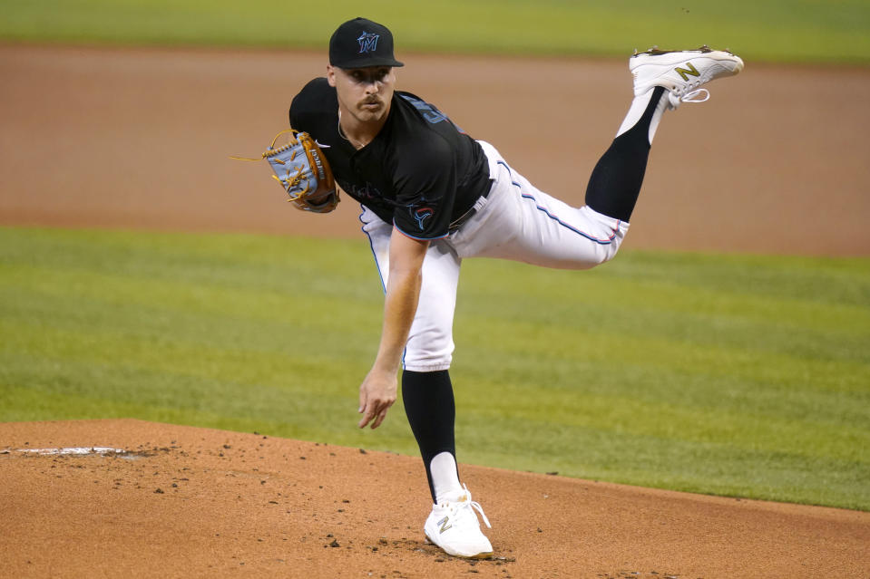 Miami Marlins starting pitcher Daniel Castano throws during the first inning of a baseball game against the Milwaukee Brewers, Saturday, May 8, 2021, in Miami. (AP Photo/Lynne Sladky)