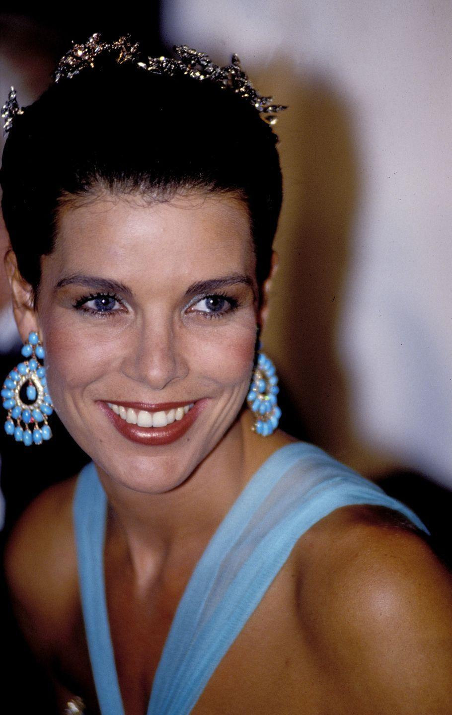 <p>The princess opted for a striking turquoise palette for 1989's Red Cross Ball. </p>