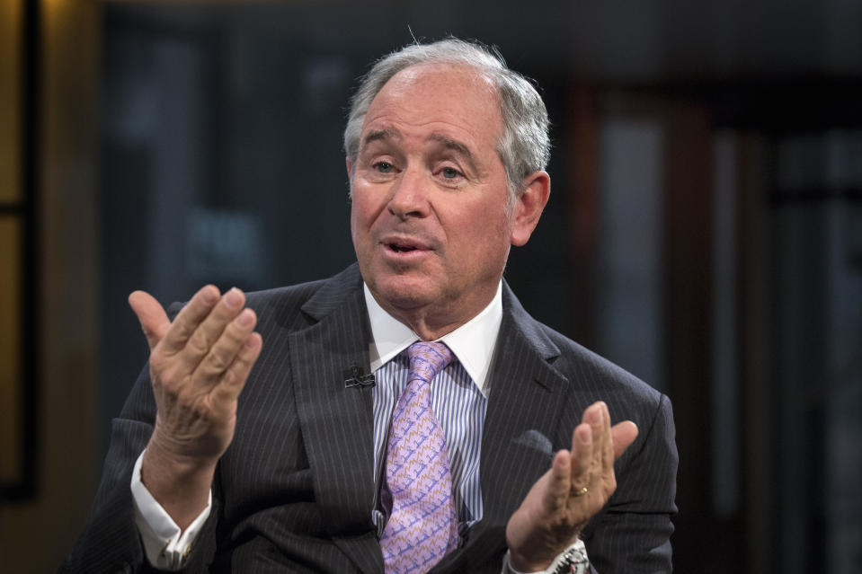"""Stephen A. Schwarzman, Chairman and Chief Executive Officer of The Blackstone Group, speaks during an interview with Maria Bartiromo, on her Fox Business Network show; """"Opening Bell with Maria Bartiromo"""" in New York February 27, 2014. Italian fashion house Versace is selling a 20 percent stake to U.S. private equity firm Blackstone for 210 million euros ($287 million), aiming to fund new shops and build on a recent recovery in sales before an eventual stock market listing. REUTERS/Brendan McDermid (UNITED STATES - Tags: BUSINESS MEDIA FASHION)"""