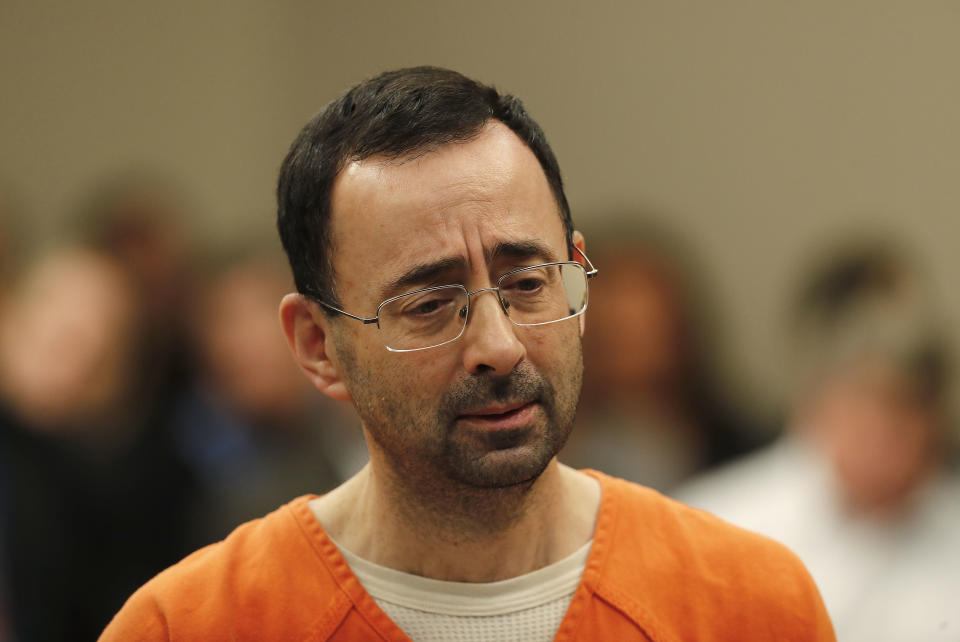 Dr. Larry Nassar appears in court for a plea hearing in Lansing, Michigan. (AP)