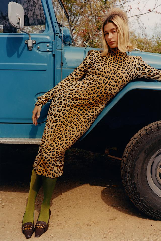 """Blumarine dress; Bottega Veneta bracelet and shoes; Music Legs tights. <strong>Beauty note:</strong> Stay vibrant. <a href=""""https://briogeohair.com/products/color-me-brilliant-mushroom-bamboo-color-protect-primer"""">Briogeo Color Me Brilliant Mushroom + Bamboo Color Protect Primer's</a> plant-based formula leaves tresses nourished and protected from fading."""