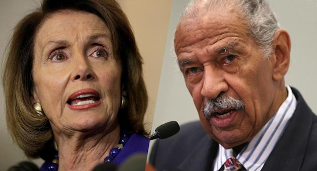 U.S. House Minority Leader Rep. Nancy Pelosi (D-CA) and U.S. Rep. John Conyers (D-MI). (Photos: Alex Wong/Getty Images)