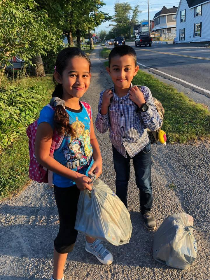 <p>Ola, age 8, and Mohammad, age 9 heading to school in Spryfield, Nova Scotia, in this undated photo. (Photo via Facebook Ummah Masjid And Community Cente) </p>