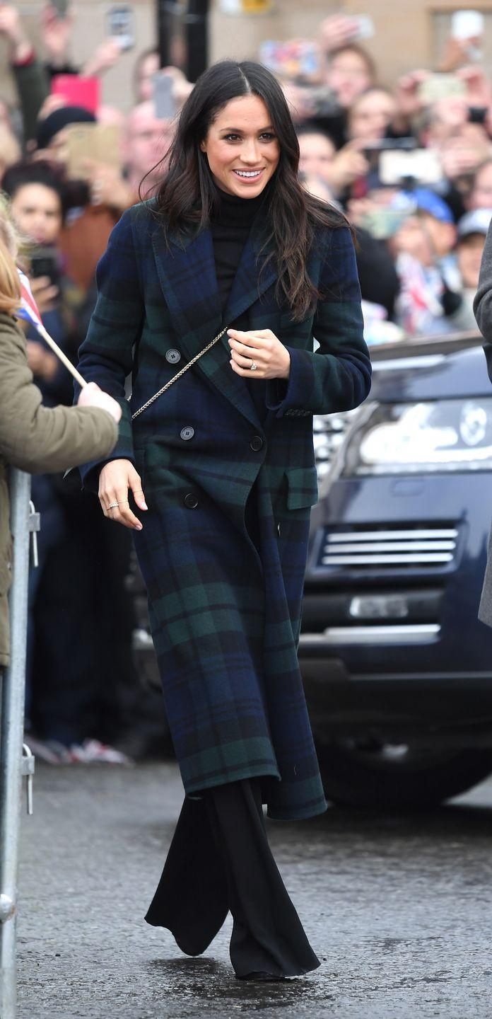 """<p>And <a href=""""https://www.cosmopolitan.com/entertainment/a17809713/prince-harry-meghan-markle-scotland-royal-visit/"""" rel=""""nofollow noopener"""" target=""""_blank"""" data-ylk=""""slk:Meghan wore her"""" class=""""link rapid-noclick-resp"""">Meghan wore her</a> tartan jacket during her first official visit to Scotland in 2018, although sadly, she didn't play any sports in the ensemble. </p>"""
