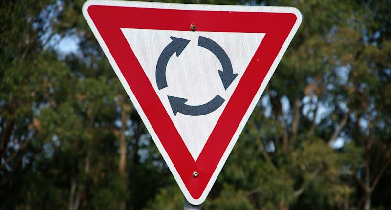 Roundabout sign showing direction of flow of traffic as rules for Australian states are explained.