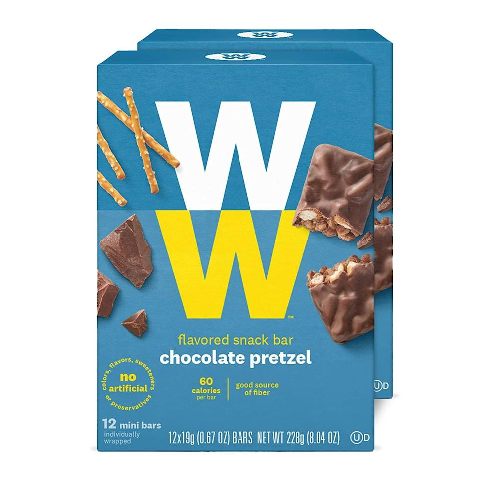 <p>Try these perfectly portioned <span>WW Chocolate Pretzel Mini Bar</span> ($21). They're so easy to stash in your bag for when hunger hits.</p>