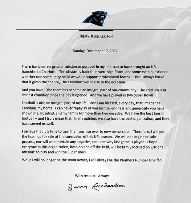 Jerry Richardson's letter, which was posted to Panthers.com.