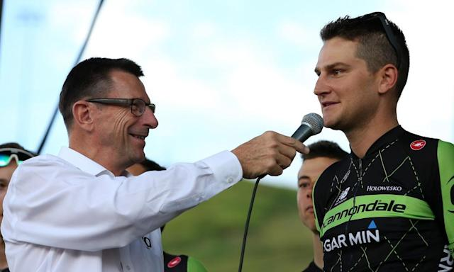 """<span class=""""element-image__caption"""">Paul Sherwen interviews Edward King of team Cannondale-Garmin during team presentations ahead of the 2015 USA Pro Challenge.</span> <span class=""""element-image__credit"""">Photograph: Chris Graythen/Getty Images</span>"""