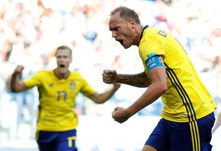 Sweden's Andreas Granqvist celebrates scoring their first goal against South Korea. REUTERS/Matthew Childs