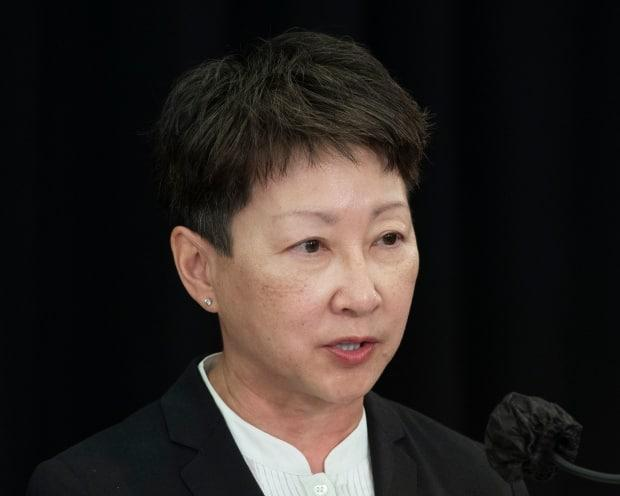 Dr. Verna Yiu, Alberta Health Services president and CEO, shared statistics of the impact of COVID-19 on Alberta's hospitals and health-care workers on Monday. (Chris Schwarz/Government of Alberta - image credit)