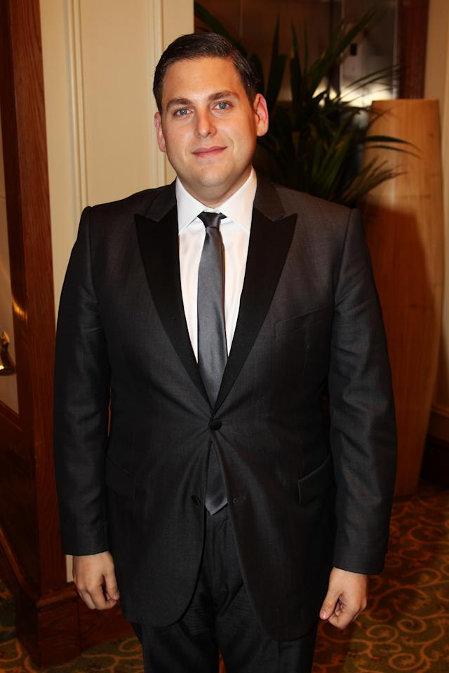 LONDON, ENGLAND - FEBRUARY 12:  (UK TABLOID NEWSPAPERS OUT) Jonah Hill attends The Orange British Academy Film Awards 2012 afterparty at The Grosvenor House Hotel on February 12, 2012 in London, England.  (Photo by Dave Hogan/Getty Images)