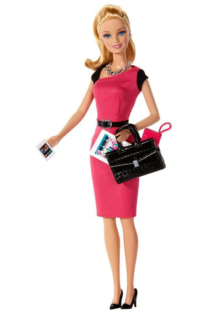 <p>Barbie takes her start-up to the next level as Entrepreneur Barbie, accessorized with an always-in-reach smartphone and a bag for her business plans. </p>
