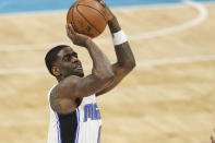 Orlando Magic guard Dwayne Bacon shoots against the Charlotte Hornets during the second half of an NBA basketball game in Charlotte, N.C., Friday, May 7, 2021. (AP Photo/Nell Redmond)