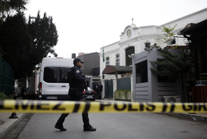 Turkish police outside the residence of the Saudi consul General Mohammed al-Otaibi to conduct a search after the disappearance and alleged slaying of writer Jamal Khashoggi, in Istanbul, Wednesday, Oct. 17, 2018. A pro-government Turkish newspaper on Wednesday published a gruesome recounting of the alleged slaying of Saudi writer Jamal Khashoggi at the Saudi Consulate in Istanbul, just as America's top diplomat arrived in the country for talks over the Washington Post columnist's disappearance. (AP Photo/Emrah Gurel)