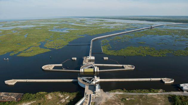 An aerial view of the Inner Harbor Navigation Canal-Lake Borgne Surge Barrier on Aug. 1, 2015, in New Orleans. The 1.8-mile barrier is located at the confluence of the Gulf Intracoastal Waterway (GIWW) and the Mississippi River Gulf Outlet (MRGO), about 12 miles east of downtown New Orleans. (Photo: The Washington Post via Getty Images)