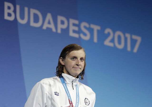 "<a class=""link rapid-noclick-resp"" href=""/olympics/rio-2016/a/1119883/"" data-ylk=""slk:Katie Ledecky"">Katie Ledecky</a> announced Monday she will turn pro, but will continue training at Stanford. (AP)"