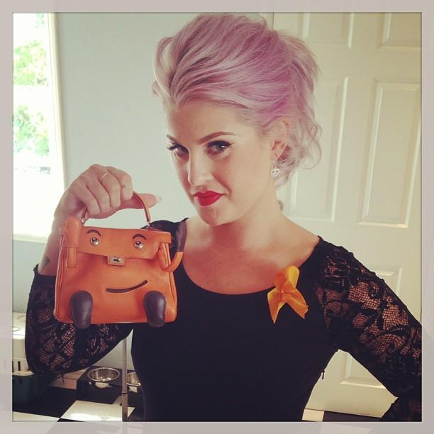"<b>Kelly Osbourne</b><br /> ""What do you guys think of my vintage 1970's #Hermes clutch and orange ribbon to represent @racetoerasems for the @dosomething #awards tonight? It's it enough?"" —<a href=""http://instagram.com/p/ccmyJpgb1L/"" target=""_blank"">@kellyosbourne</a>"