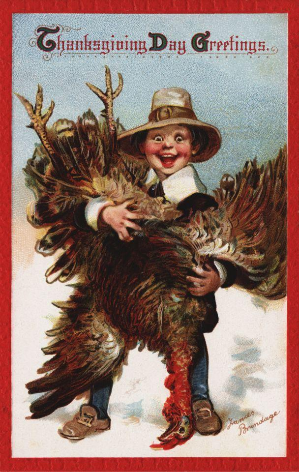 <p>ca. 1912 — Thanksgiving Day Greetings Postcard by Frances Brundage — Image by © Swim Ink 2, LLC/Corbis via Getty Images </p>