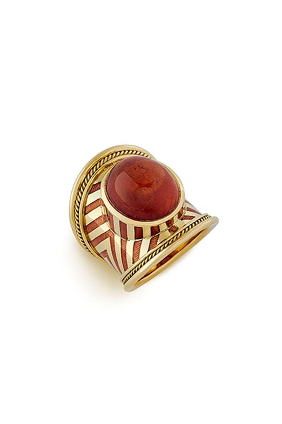 """<p><strong>Elizabeth Gage</strong></p><p>elizabeth-gage.com</p><p><strong>$14058.00</strong></p><p><a href=""""https://elizabeth-gage.com/rings/mandarin-garnet-tapered-templar/"""" rel=""""nofollow noopener"""" target=""""_blank"""" data-ylk=""""slk:Shop Now"""" class=""""link rapid-noclick-resp"""">Shop Now</a></p><p>Elizabeth Gage employs expert goldsmiths to handcraft all of her pieces—the designer herself is also a trained goldsmith. In 2017, Queen Elizabeth appointed Gage a Member Of The Most Excellent Order Of The British Empire. </p>"""
