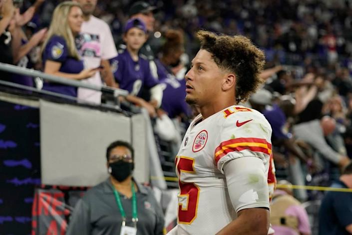 Kansas City Chiefs quarterback Patrick Mahomes walks off the field after Sunday night's road loss to the Baltimore Ravens.