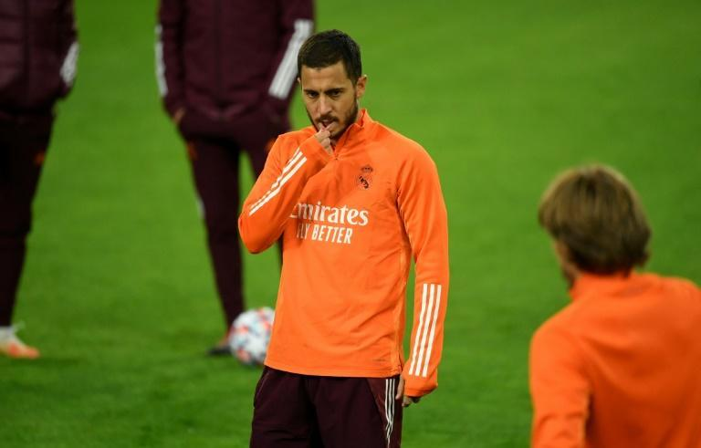 Danger man: Eden Hazard trained with the rest of the Real Madrid squad in Moenchengladbach on Monday