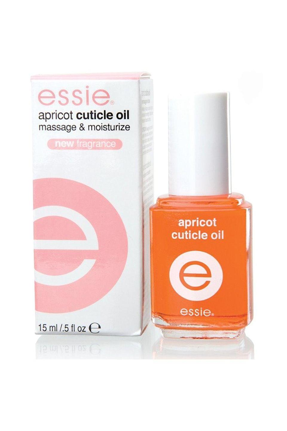 """<p><strong>essie</strong></p><p>ulta.com</p><p><strong>$9.00</strong></p><p><a href=""""https://go.redirectingat.com?id=74968X1596630&url=https%3A%2F%2Fwww.ulta.com%2Fapricot-cuticle-oil%3FproductId%3DxlsImpprod1320184&sref=https%3A%2F%2Fwww.oprahmag.com%2Fbeauty%2Fskin-makeup%2Fg33013870%2Fbest-cuticle-oils%2F"""" rel=""""nofollow noopener"""" target=""""_blank"""" data-ylk=""""slk:SHOP NOW"""" class=""""link rapid-noclick-resp"""">SHOP NOW</a></p><p>You'll instantly feel happier from this cuticle oil's sweet fruity scent—and your mood isn't the only thing getting a lift. As the name suggests, this formula gives top billing to skin-softening apricot oil, which is rich in fatty acids and antioxidants, but it's also chock full of other nourishing ingredients, including almond, jojoba, and sunflower seed oils. </p>"""