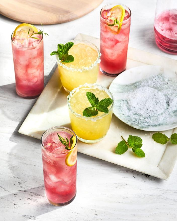 """<p><strong>Recipe: <a href=""""https://www.southernliving.com/recipes/mint-margarita"""" rel=""""nofollow noopener"""" target=""""_blank"""" data-ylk=""""slk:Mint Margarita"""" class=""""link rapid-noclick-resp"""">Mint Margarita</a></strong></p> <p>Mint gives an upgraded, fresh taste to traditional margaritas. </p>"""