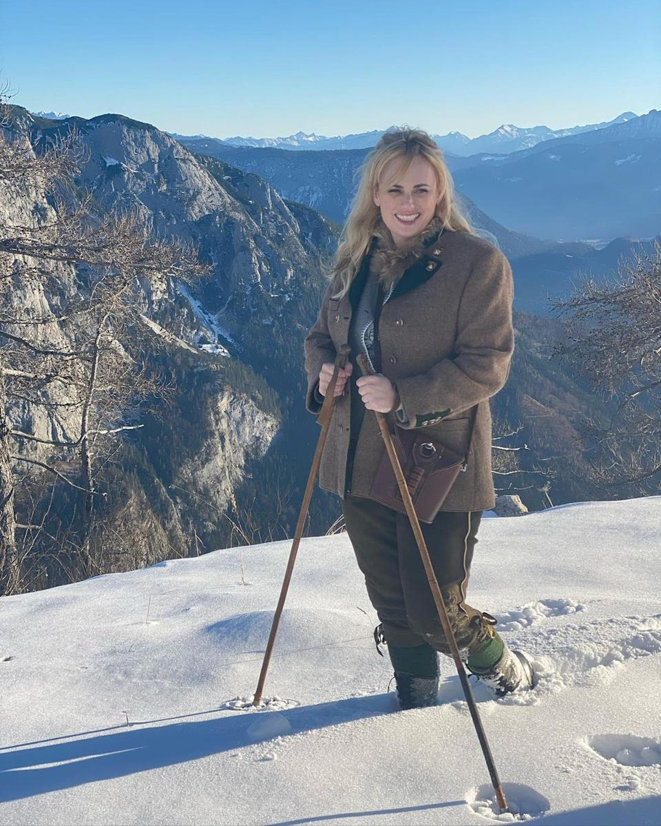 Rebel Wilson poses in the snow