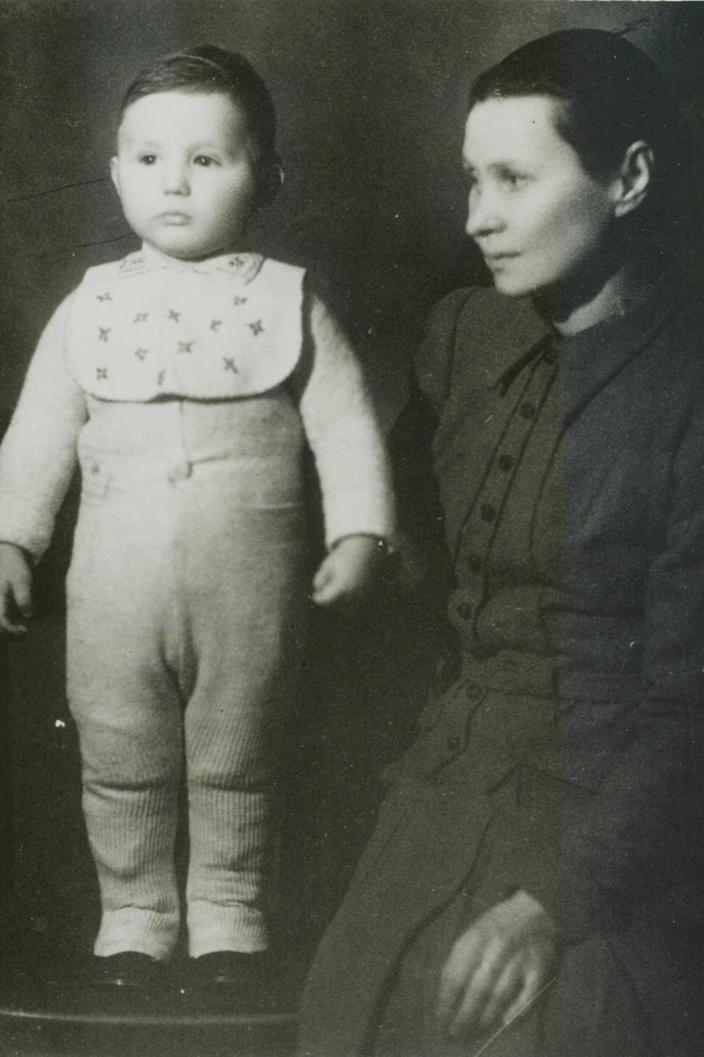 Abe Foxman with his mother as a young boy in Lithuania. (Courtesy of Abe Foxman)