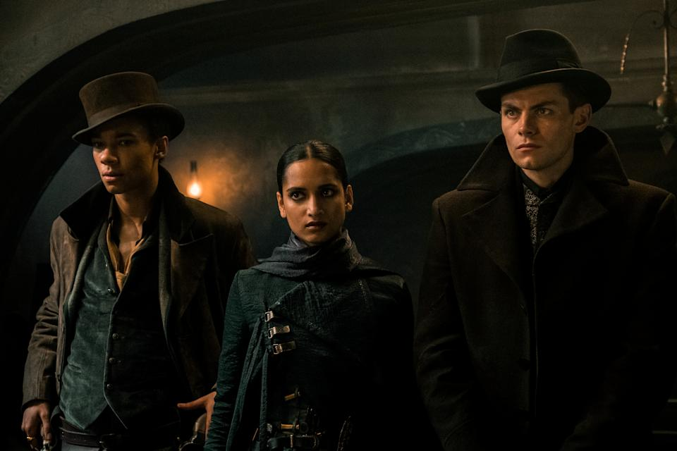 (Left to right) Kit Young, Amita Suman, and Freddy Carter as Jesper, Inej and Kaz in Shadow And Bone. (Photo: Netflix)